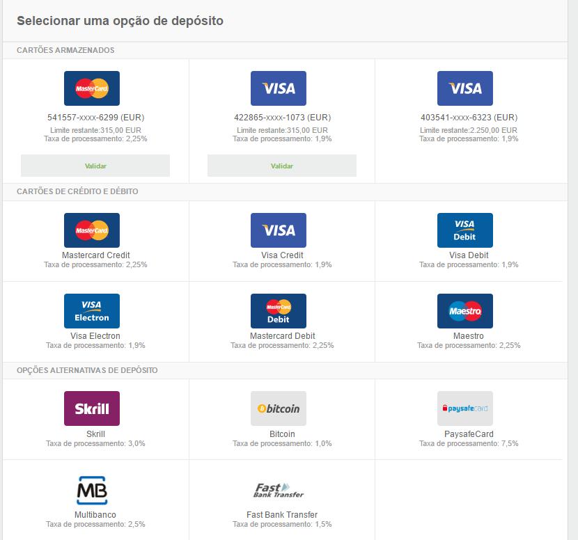 Metodos pagamento Neteller